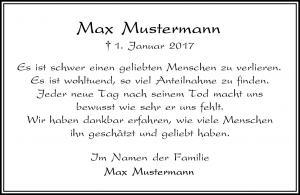 Danksagung Kieler Nachrichten Musteranzeige Trauerbriefe