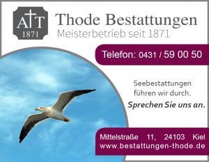Anzeigen Seebestattung Möwe Werbung Thode 2016