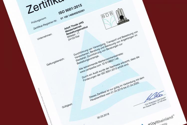 Rezertifizierung Bestattungsinstitut Zertifikat Qualitätssiegel TÜV Rheinland ISO 9001 2015