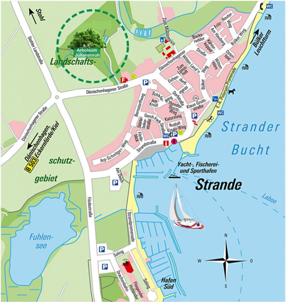 Anfahrtsplan Arboleum Naturfriedhof Julianenruh in Strande in der Nähe Kiel