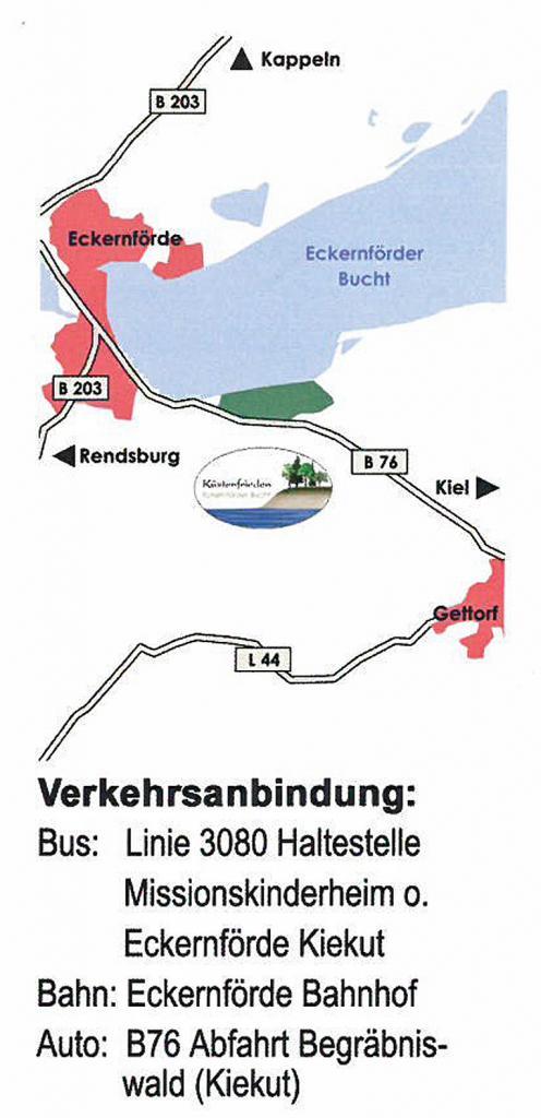 Anfahrtsplan Begräbniswald-Küstenfrieden-in-der-Eckernförder-Bucht-Eckernförde